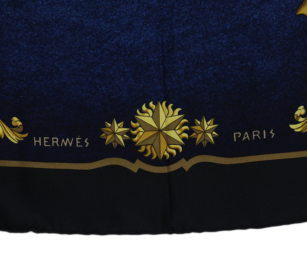 Hermes black blue gold Cosmos scarf 5