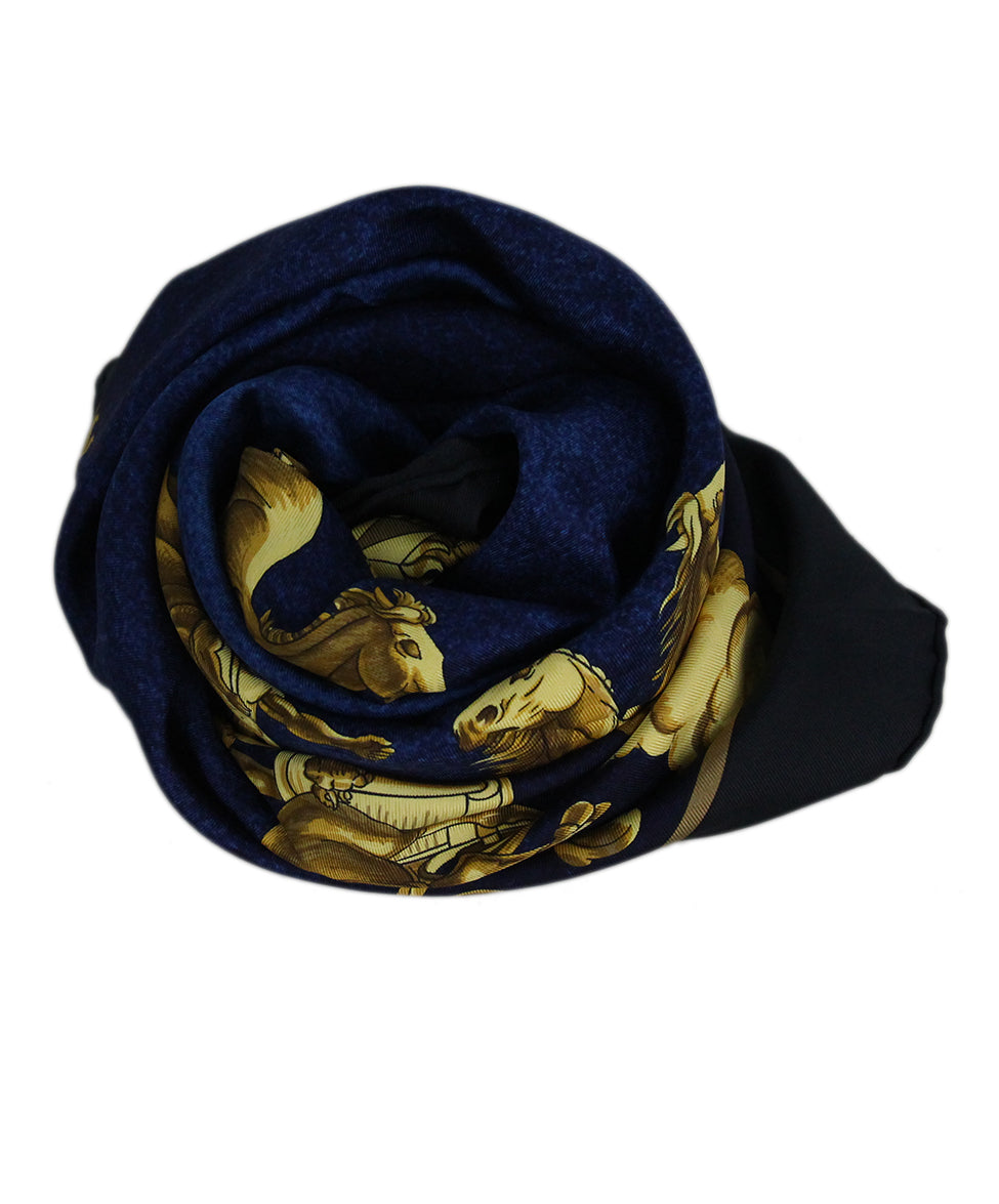 Hermes black blue gold Cosmos scarf 3