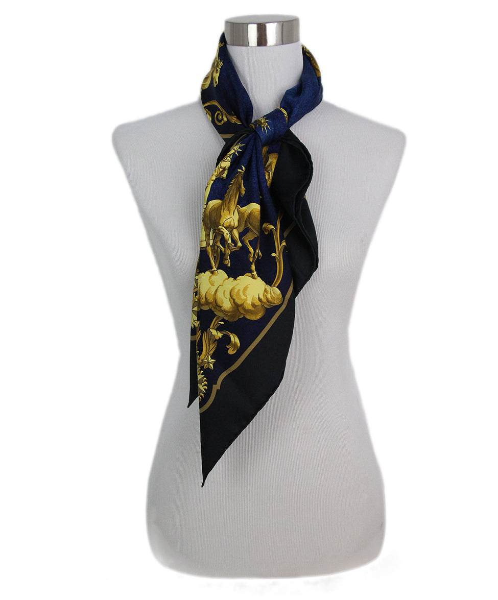 Hermes black blue gold Cosmos scarf 1