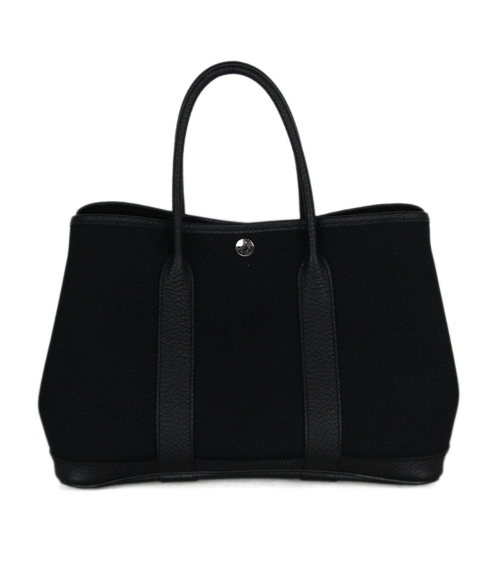 Hermes black canvas leather trim bag 1