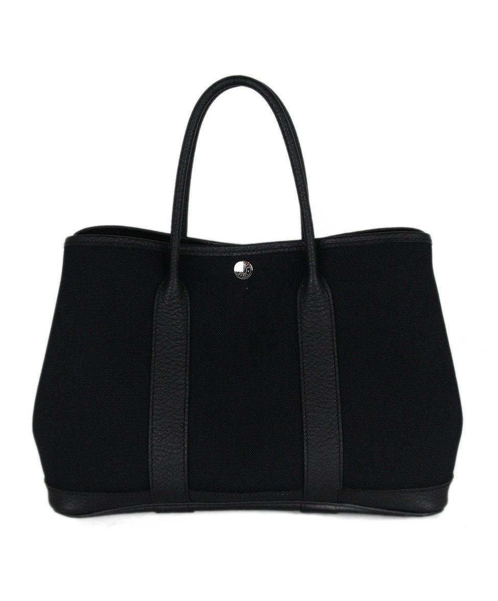 Hermes black canvas leather trim bag 3