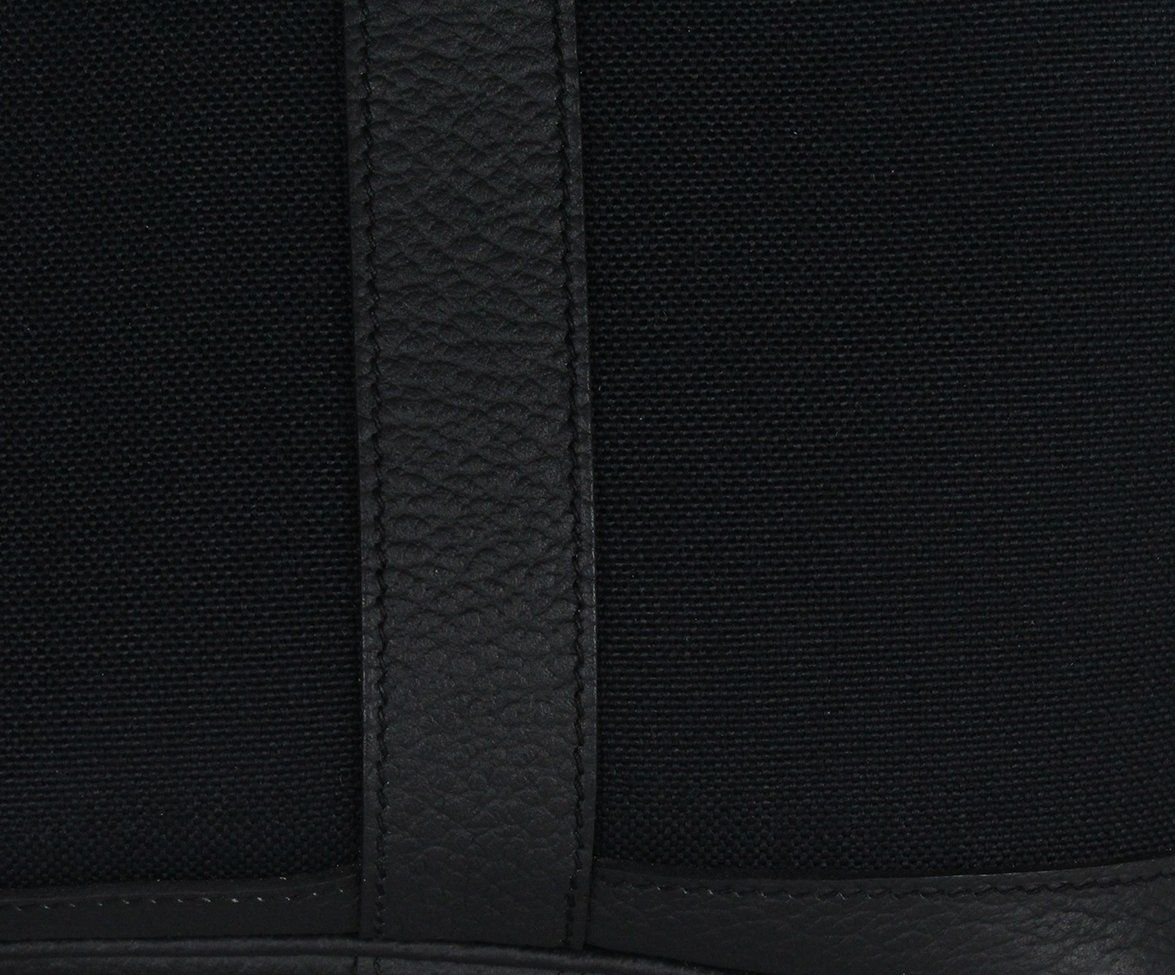 Hermes black canvas leather trim bag 8
