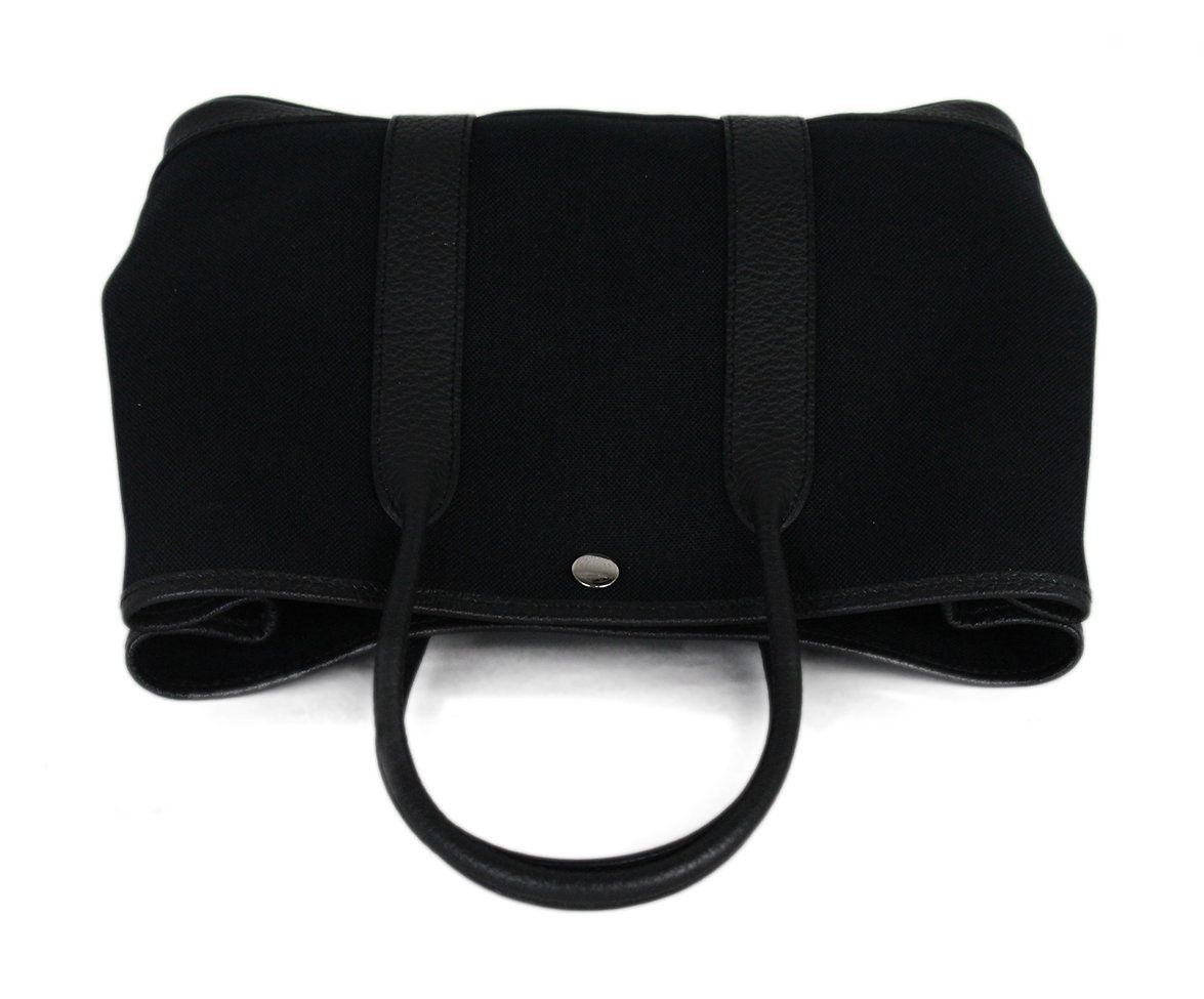 Hermes black canvas leather trim bag 5