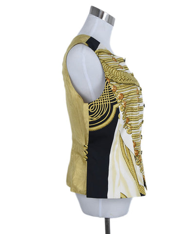 Hermes Black Gold White Print Silk Vest Top 1