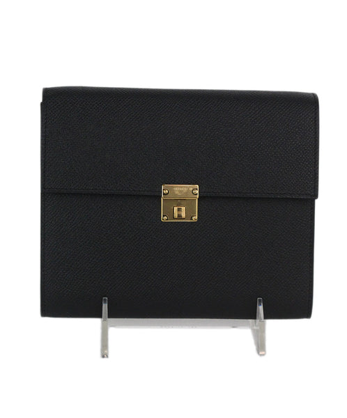 Hermes black leather Epsom clic 16 wallet 1