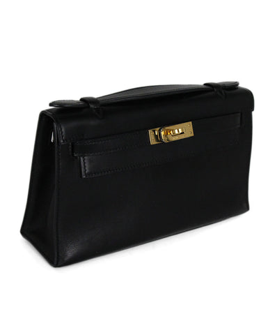 Hermes Black Leather Kelly Pochette Clutch Handbag 1