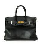 Satchel Gold Hardware Hermes Black Leather No lock/key W/Dust Cover Handbag 1