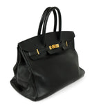 Satchel Gold Hardware Hermes Black Leather No lock/key W/Dust Cover Handbag 2