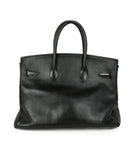 Satchel Gold Hardware Hermes Black Leather No lock/key W/Dust Cover Handbag 3