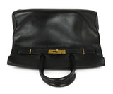 Satchel Gold Hardware Hermes Black Leather No lock/key W/Dust Cover Handbag 5