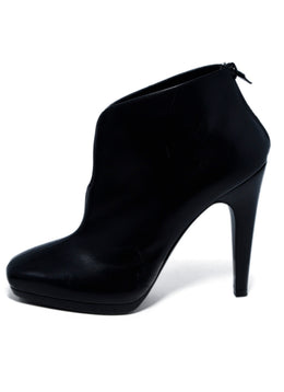 Hermes Black Leather Square Toe Booties 2