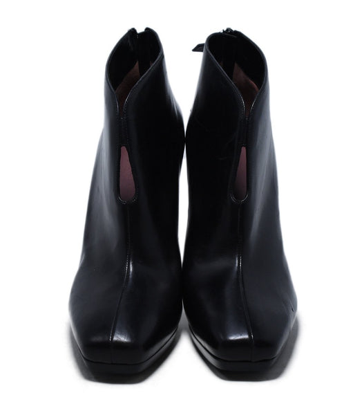 Hermes Black Leather Square Toe Booties 4