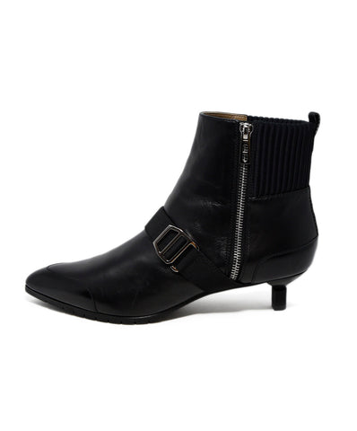 Hermes Black Leather Knit Trim Booties 1