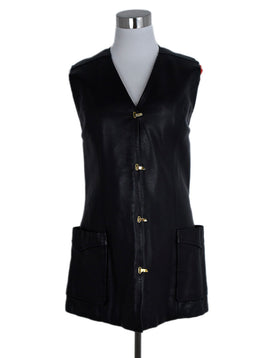 Hermes Black Leather Red Rabbit Vest Outerwear 1
