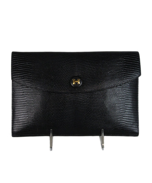 Hermes black lizard vintage clutch 1
