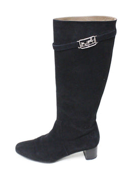 Hermes Black Suede Knee High Boots sz 10
