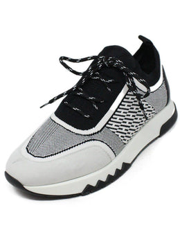 Hermes Black and White Knit Spandex Sneakers sz 8