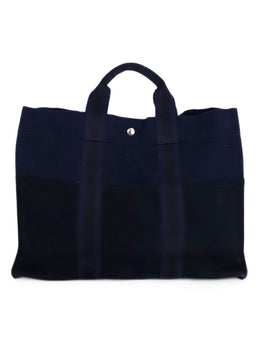 Hermes Blue Black Canvas Tote Handbag 1