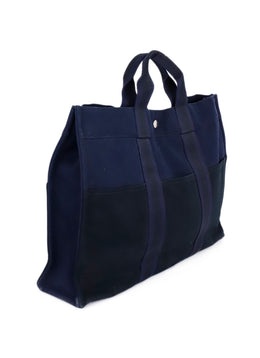 Hermes Blue Black Canvas Tote Handbag 2