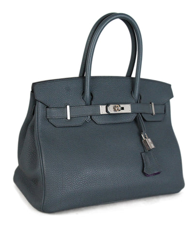 Hermes blue grey leather purple lining Birkin Bag 1