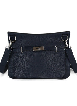 Hermes Blue Navy Leather Jypsiere Shoulder Bag Handbag 1
