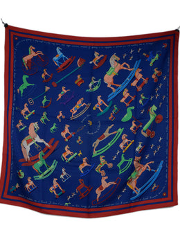 Hermes Blue Red Multi Silk Print Scarf 1