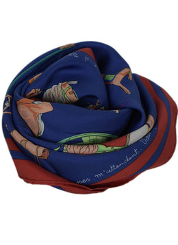Hermes Blue Red Multi Silk Print Scarf 2