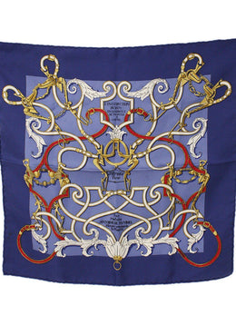 Hermes Blue Silk Pocket Square Scarf