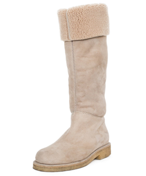Hermes Beige Shearling Boots Sz 38 - Michael's Consignment NYC  - 1