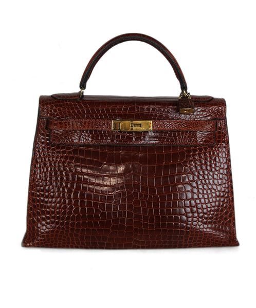 Hermes brown crocodile 32cm bag 1