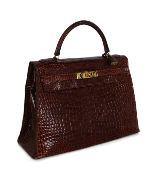 Hermes brown crocodile 32cm bag 2