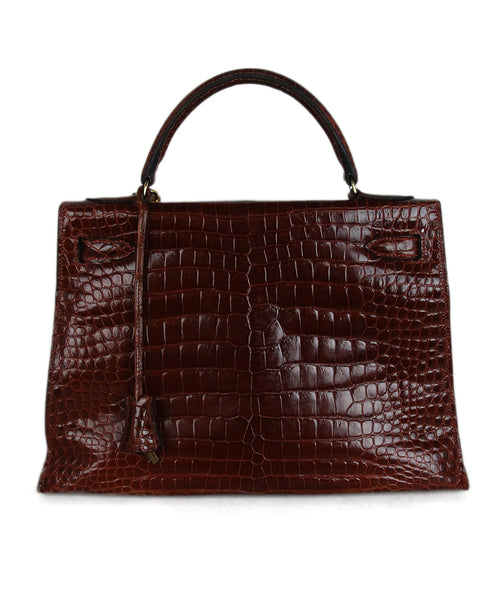 Hermes brown crocodile 32cm bag 3