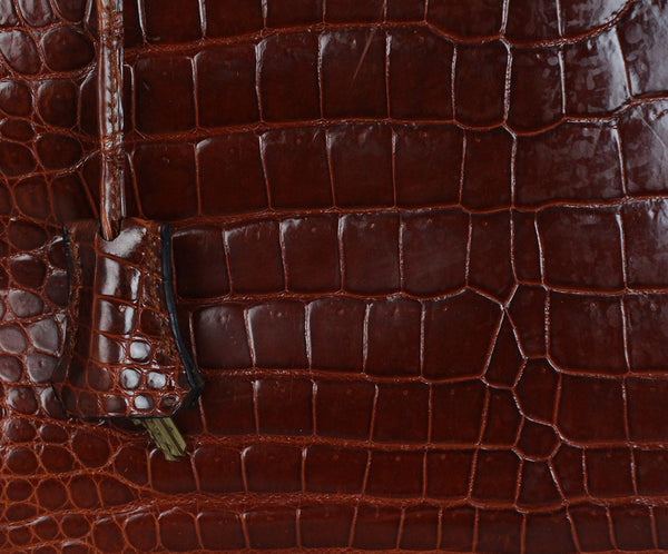 Hermes brown crocodile 32cm bag 8