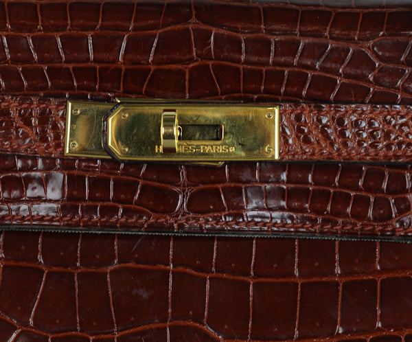 Hermes brown crocodile 32cm bag 9