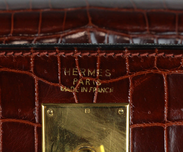 Hermes brown crocodile 32cm bag 14