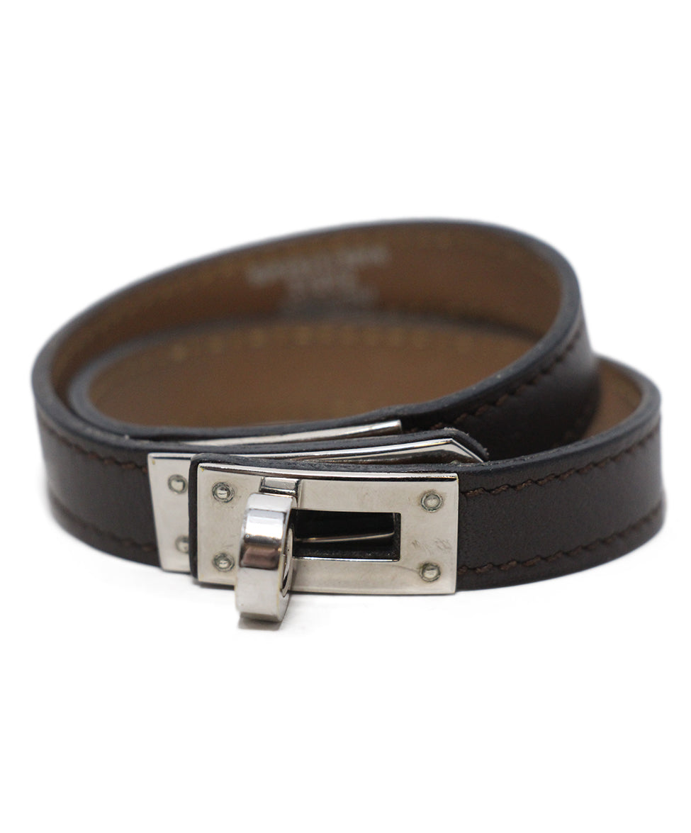 Hermes brown leather silver Kelly Bracelet 2