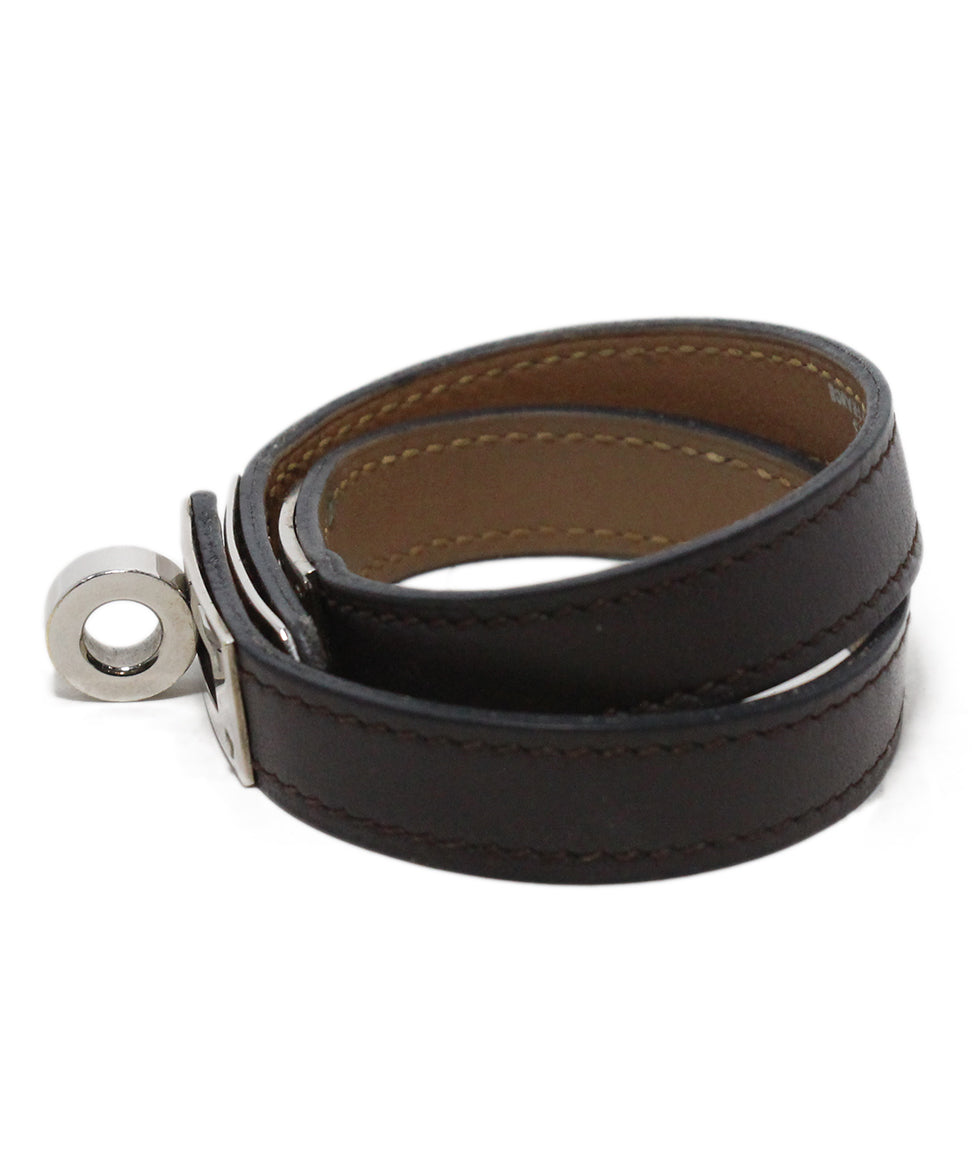 Hermes brown leather silver Kelly Bracelet 3