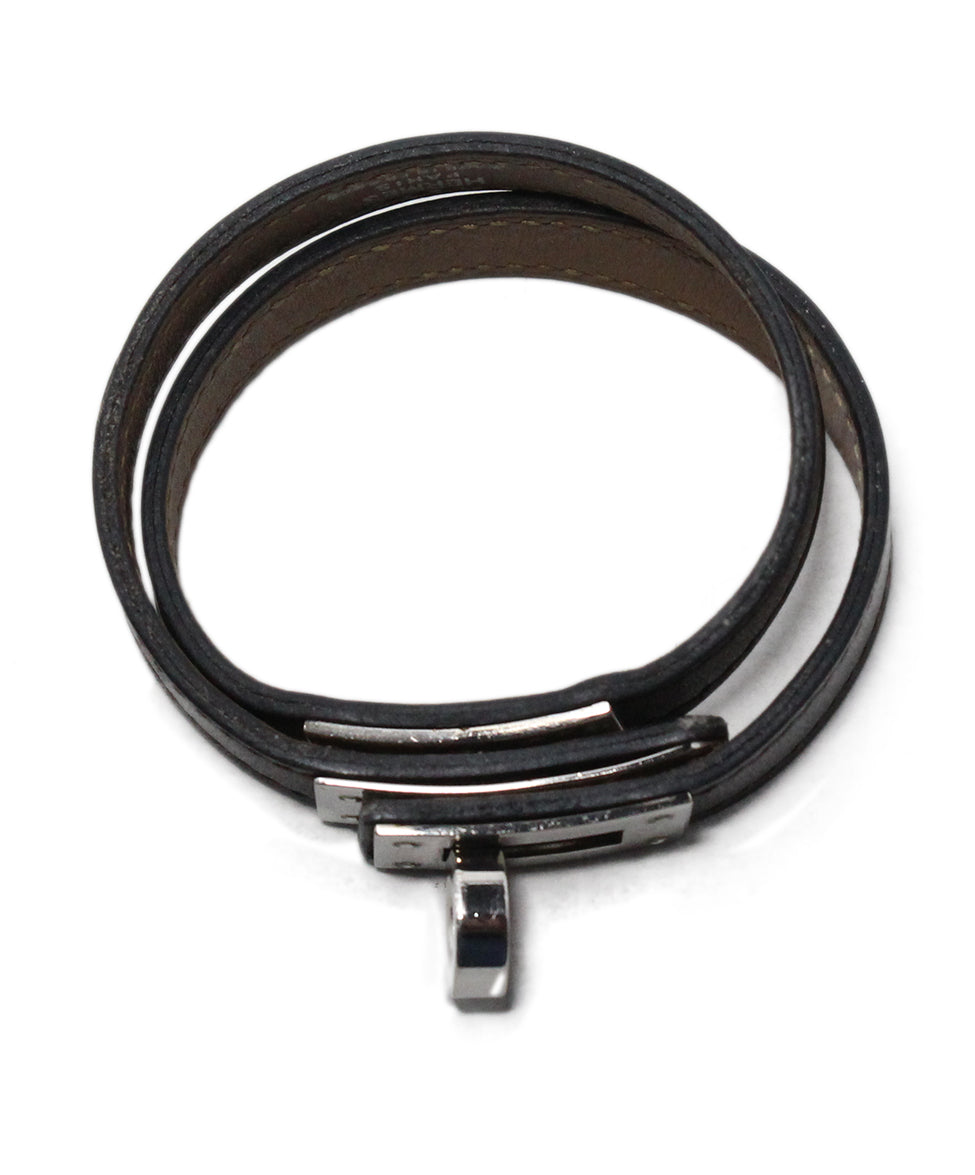 Hermes brown leather silver Kelly Bracelet 4