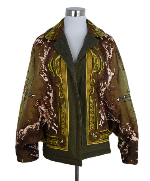 Hermes Brown Olive Gold Wool Print Jacket 1