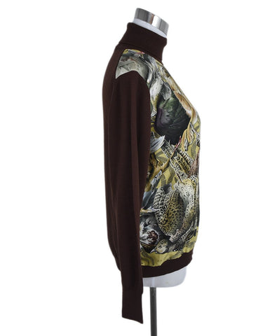 Hermes Brown Wool Print Yellow Turtleneck Sweater 1