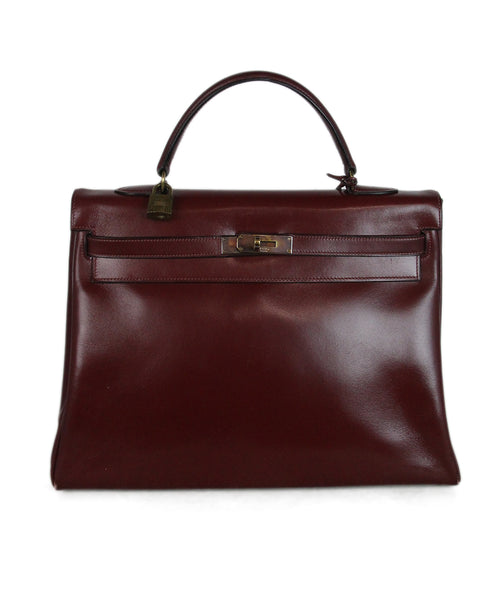 Hermes burgundy leather 35cm kelly bag 1