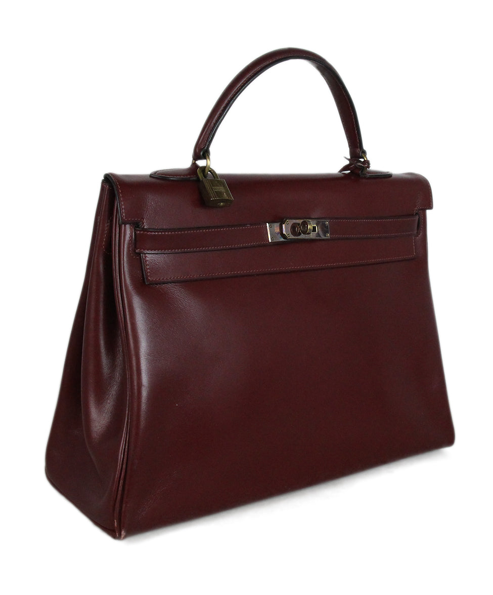 Hermes burgundy leather 35cm kelly bag 2