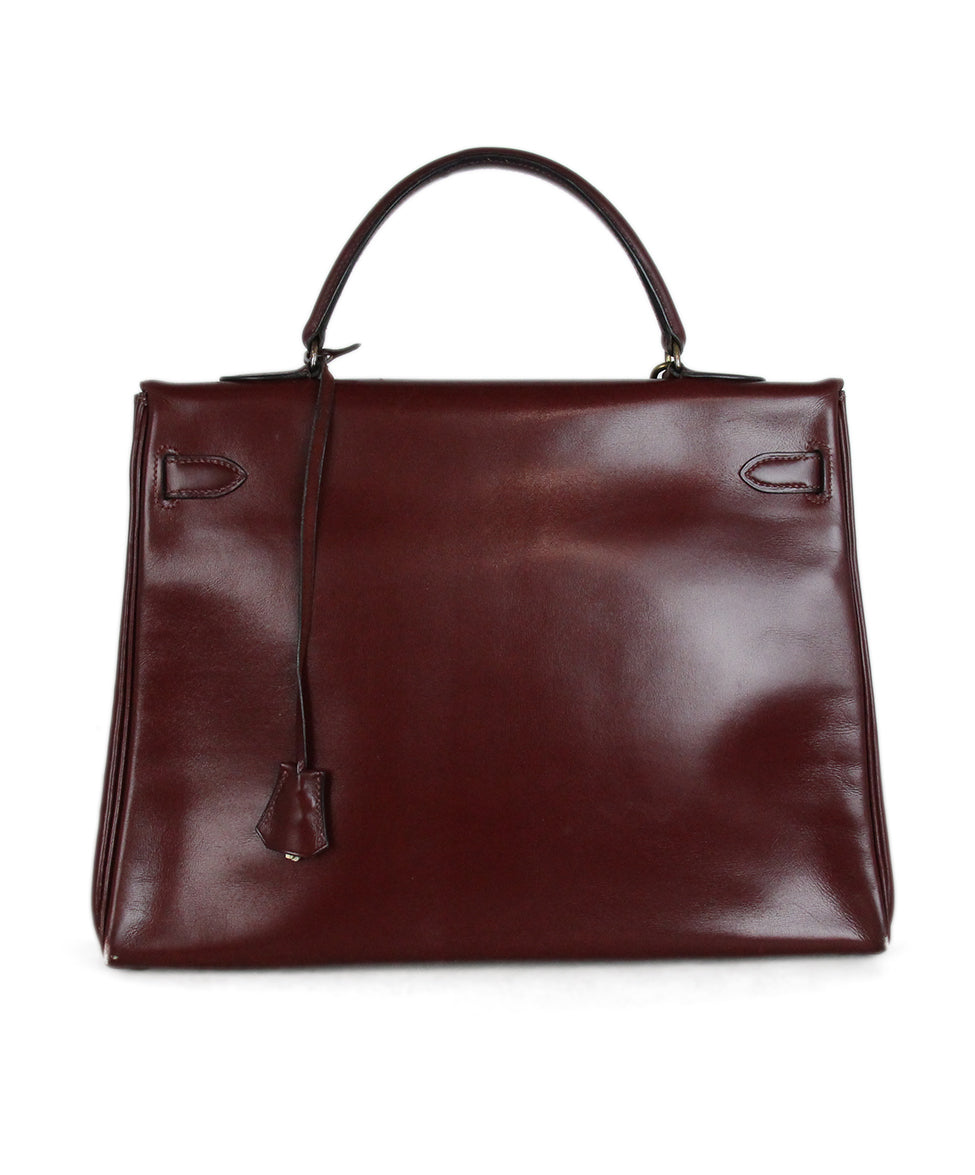 Hermes burgundy leather 35cm kelly bag 3