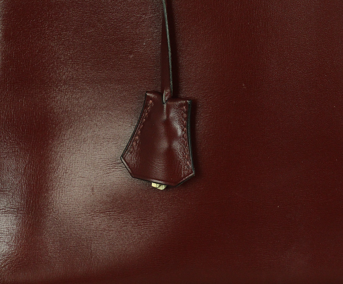 Hermes burgundy leather 35cm kelly bag 7