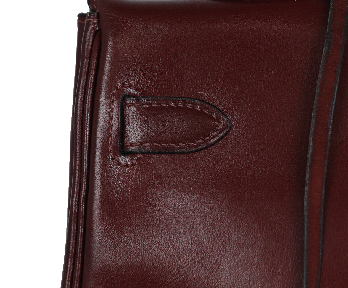 Hermes burgundy leather 35cm kelly bag 8