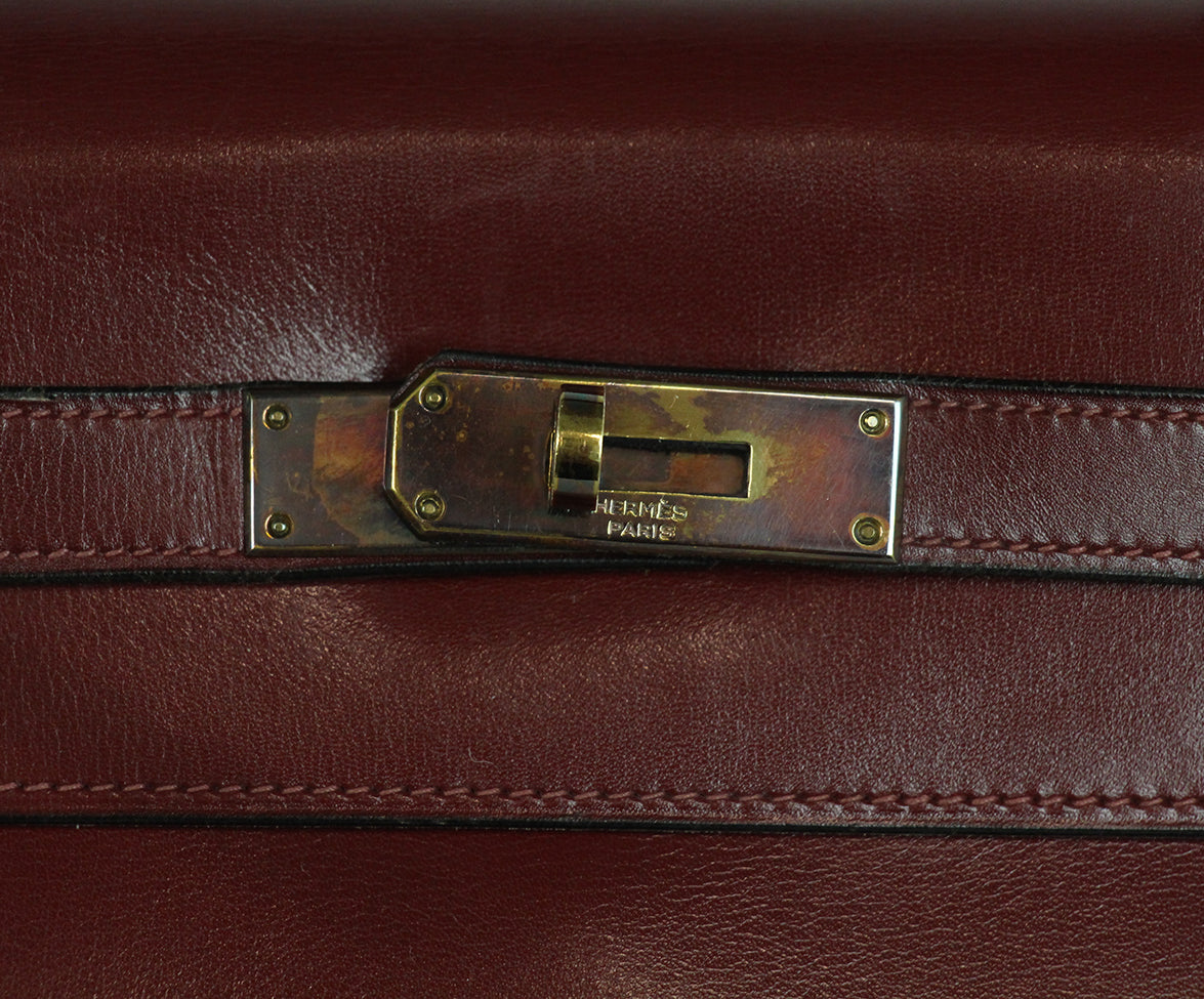 Hermes burgundy leather 35cm kelly bag 9