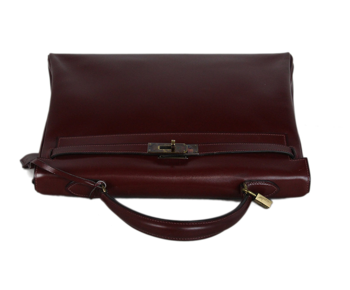 Hermes burgundy leather 35cm kelly bag 5