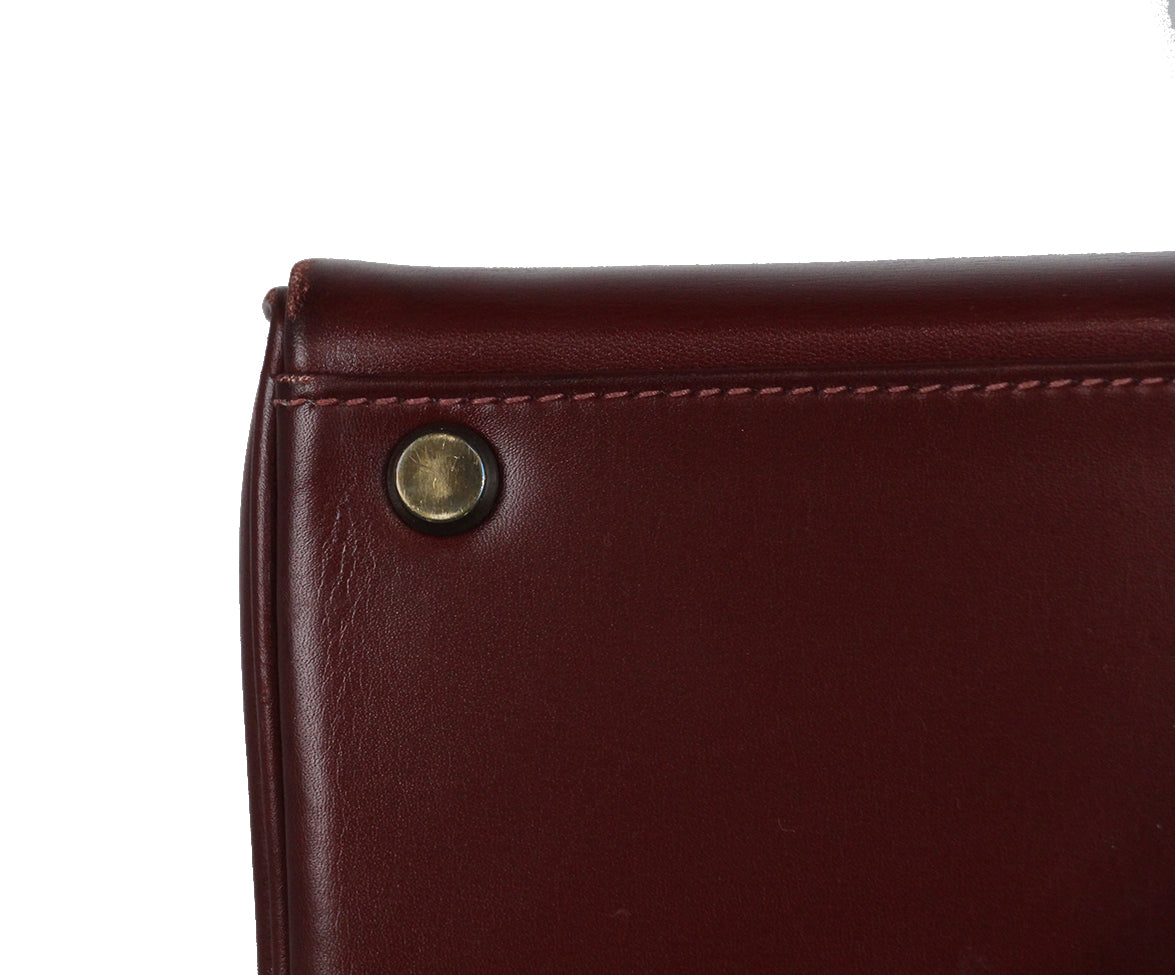 Hermes burgundy leather 35cm kelly bag 11