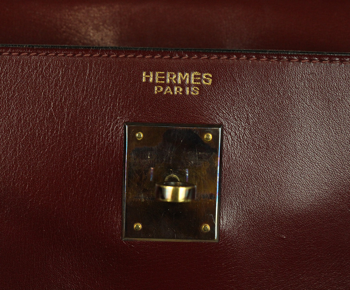 Hermes burgundy leather 35cm kelly bag 13