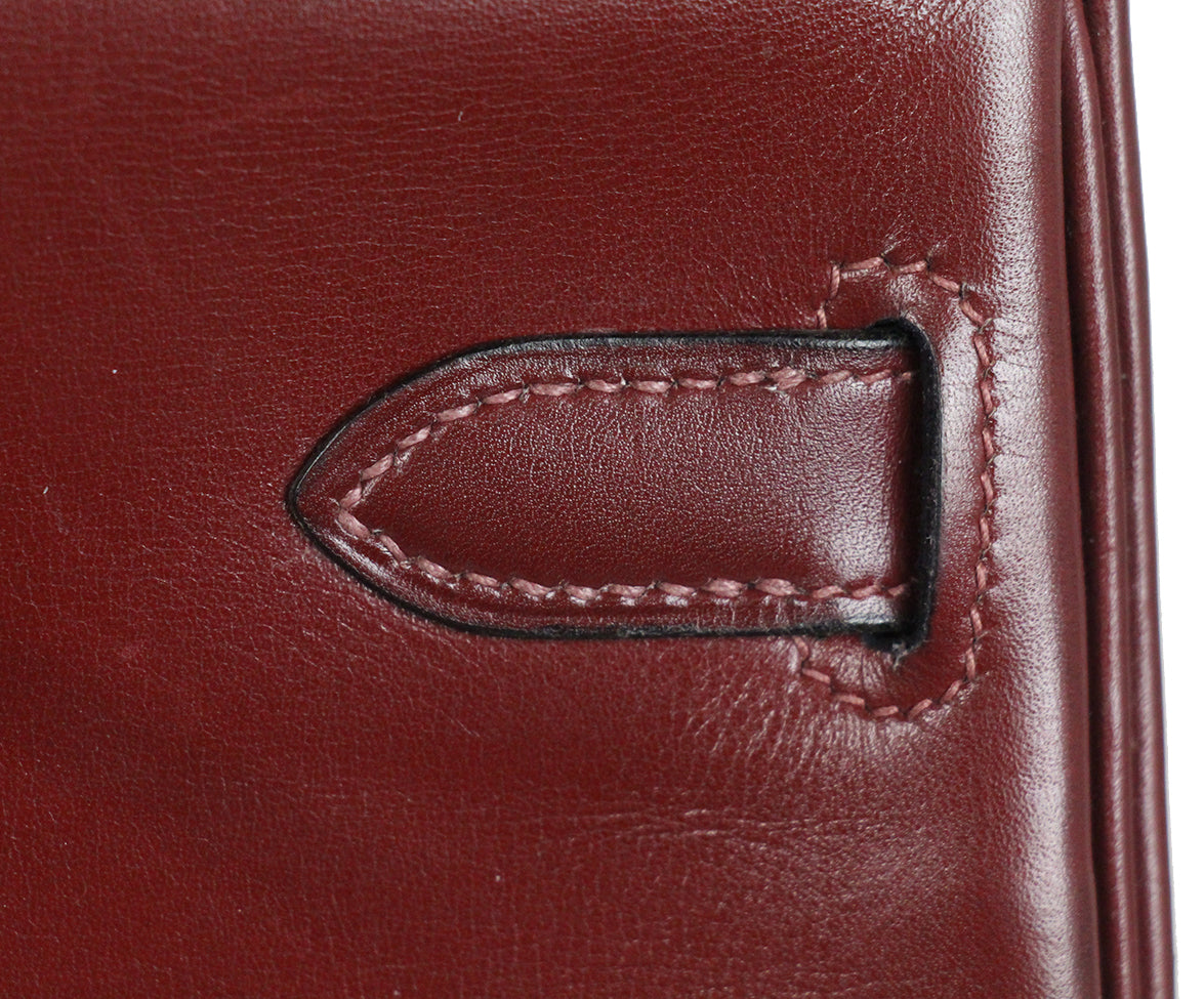 Hermes burgundy leather 35cm kelly bag 15